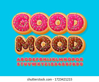 Vector greeting card Good Mood with Donut Font. Pink Glazed Alphabet Letters and Numbers with Sprinkles