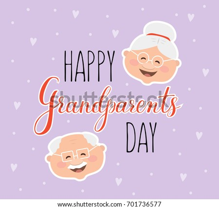 Vector Greeting Card Happy Grandparent Day Stock Vector Royalty