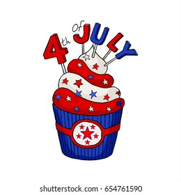 Vector greeting card. Happy Independence Day. Fourth of July. A cake with stars isolated on white background.  Hand drawn illustration