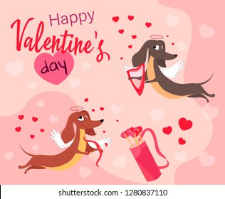 Vector greeting card Happy Valentine's Day with dogs in cupid suits with arrows. Illustration on a pink background with hearts.