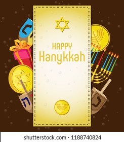 Vector greeting card for the holiday Hanukkah. Gold coins, a gift and a dreidel with a burning candelabrum, protruding from under the stitched parchment.