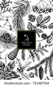 Vector greeting card or invitation design  with hand drawn conifers, holly berries, mistletoe, cones, mountain ash. Holiday decor elements. Vintage Christmas or New Year illustration. Winter template