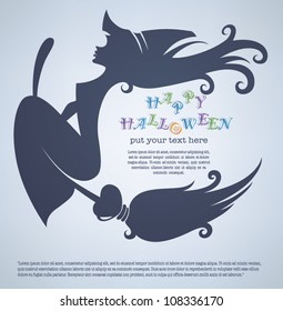 vector greeting card or invitation with image of witch and place for text