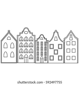 Vector greeting card or invitation template with space for text. Stylized european town.