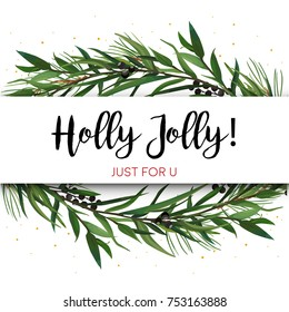 Vector greeting card, invite with Pine tree greenery branches, Eucalyptus Green leaf Wreath & black berry border, frame. Merry cute watercolor illustration. Christmas New year text space design layout