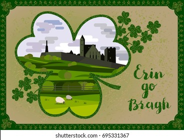 Erin go bragh images stock photos vectors shutterstock vector greeting card irish landscape with cashel castle clover leaves and lettering quote m4hsunfo