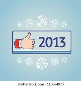 Vector greeting card with like sign on blue button with 2013