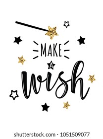 "Vector greeting card with ""Make a wish"" inscription. Can be used for cards, flyers, posters, t-shirts."