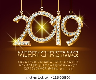 Vector Greeting Card for Merry Christmas with Chic Brilliant Toys 2019. Elegant  Golden Font.
