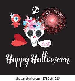 Vector greeting card with monsters and a skull for Halloween on a dark background