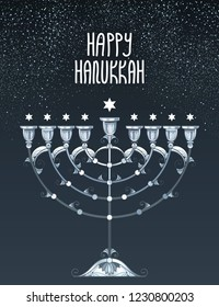 Vector greeting card with outline silver Hanukkah menorah or Chanukiah candelabrum and stars of David on the black background. Ornate contour Chanukah menorah for Jewish holiday design.