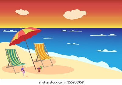 Vector greeting card with a picture of the beach and ocean at sunset