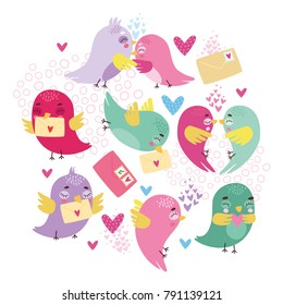 vector greeting card with romantic birds and letters. use for Valentine's Day, background, wallpaper, fabric, packaging. postal romance