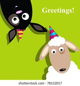 Vector greeting card with sheep and dog