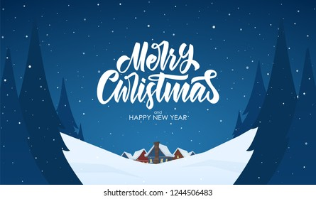 Vector greeting card. Snowy landscape background with hand lettering of Merry Christmas, night village and pines