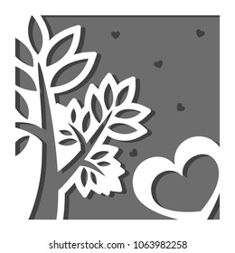 Vector greeting card in square with a tree with leaves and hearts in front and background. Three layers. Suitable for paper cutting, laser die cut and printing. Negative space and copy space.