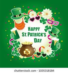 Vector greeting card  for St. Patrick's Day with decorative elements of beer mugs, clover, confetti and Leprechauns hats and with an inscription