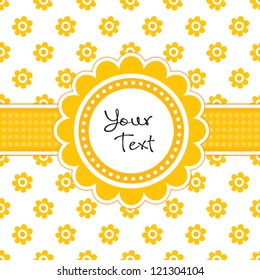 Vector greeting card template with cute daisy shaped text frame and vintage floral print. Great for baby shower, Easter, birthday, wedding, Thanksgiving, menu, dinner party invitation, stationery.