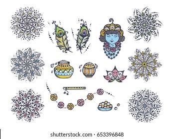 Vector Greeting Card Template for Indian fest Shri Krishna Janmashthami. Indian Holiday Symbols Set: Pots of Yoghurt, Baby Krishna portrait, Peacock Feathers, Flute, Flowers, Mandala patterns