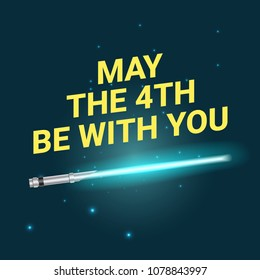 Vector greeting card template for May the 4th be with you holiday. Dark space background.