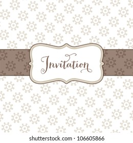 Vector greeting card template with small floral print and vintage text frame. Great for greeting cards, wedding invitations, baptism or christening cards. Other colors available.