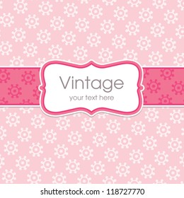 Vector greeting card template with sweet vintage floral print and text frame. Great for Mother's Day, birthday, wedding, baby, Valentine's Day, Easter, thank you, sympathy, menu, party invitation.