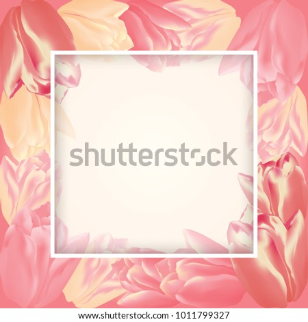vector greeting card template tulip flowers stock vector royalty