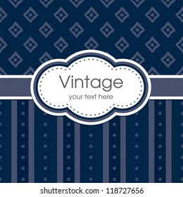 Vector greeting card template. Vintage print, grunge striped panel and text frame. Great for birthday, Father's Day, anniversary, thank you, stationery, menu, dinner party invitation.