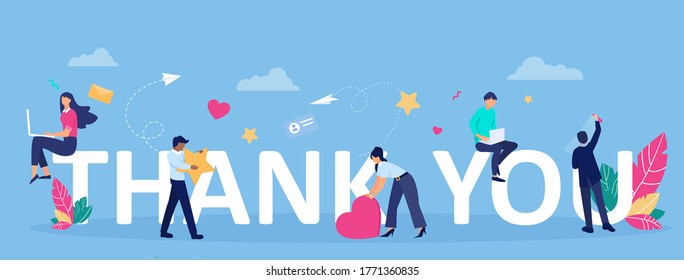 Vector greeting card with thank you message and happy customers