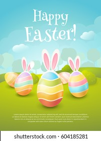 """Vector greeting card with title """"Happy Easter!"""". Cartoon spring scene with cute colored eggs and ears of a bunny. Holiday background with trees, bushes and place for text"""