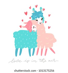 Vector greeting card with two lovely lamas. Love is in the air. Valentines day greeting.