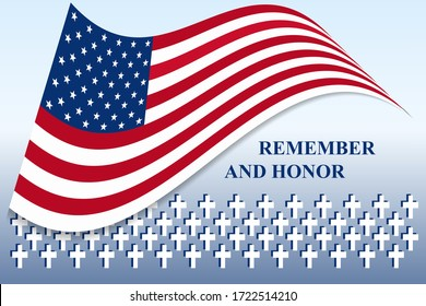 Vector greeting card to the USA flag day on the background of monuments, blue and white