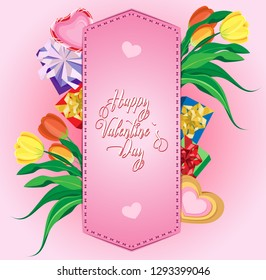 Vector greeting card for Valentines day. Flowers and gifts under the stitched parchment in the form of a shoulder strap