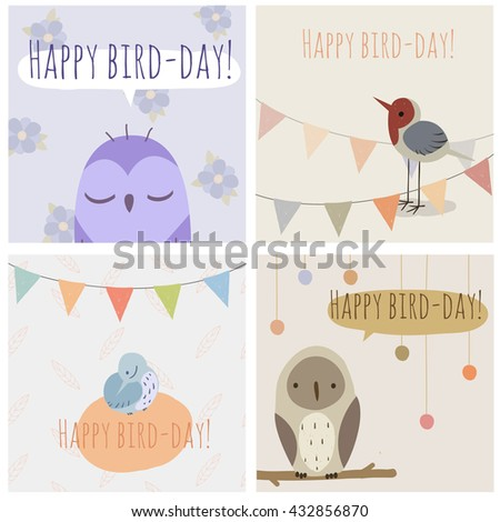 Vector greeting cards birds text happy stock vector royalty free vector greeting cards with birds and text happy bird day m4hsunfo