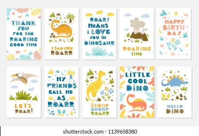 Vector greeting cards with funny dinosauts and elements in cartoon style for children birthday party, baby shower, poster and print.
