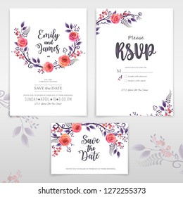 Vector greeting cards with roses and berries, can be used as invitation card for wedding, birthday and other holiday, easy to make other patterns and sets