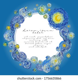 Vector greeting cards template in the style of Van Gogh impressionist paintings of starry and cloudy night sky with glowing yellow moon and with blank central space for text.