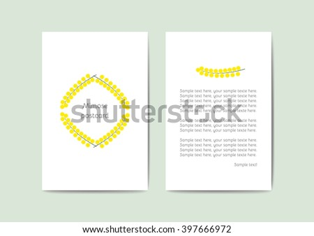 Vector Greeting Cards Template With Yellow Flowers 10x15 Cm Ready For Printing Perfect