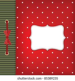 Vector greeting christmas card with bow. Space for your text or picture.