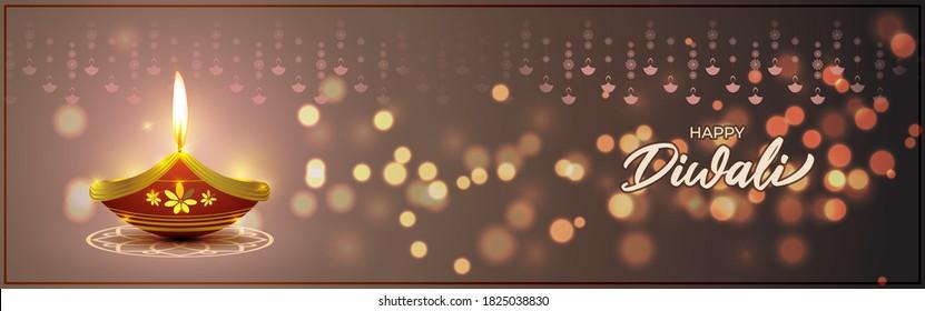 Vector greeting of Happy Diwali, Dipawali, Indian festival, festival of lights, diya lamp, oil lamp, diya danglers, patterns, colorful bokeh background, vector illustration banner, holiday wishes post