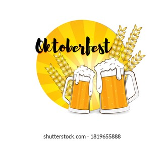 Vector greeting of oktoberfest festival, two beer mugs with wheat, party beer glasses, celebration, fest, october feastival vintage style vector illustration.