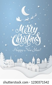 Vector greeting poster with 3D realistic paper Christmas Village. Winter night landscape with moon, tree, santa's sleigh, deers, snowfall and text Merry Christmas and Happy New Year on blue background