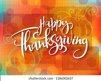 Vector greeting thanksgiving banner with hand lettering label - happy thanksgiving - with doddle pumpkin.