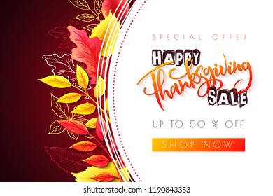 Vector greeting thanksgiving sale promotion banner with hand lettering label - happy thanksgiving - with bright autumn leaves and doodle leaves.
