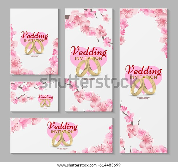 Vector Greeting Wedding Invitation Cards Japanese Stock