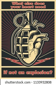 Vector. Grenade and Heart Sign Obey. Poster Style.