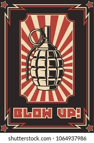 Vector Grenade. Stylization under  the Obey Series of Propaganda Posters