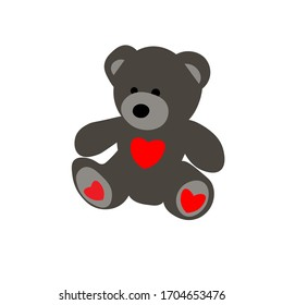 Vector grey bear holding heart isolated on white background. Cute baby panda with heart. Flat stock vector illustration.