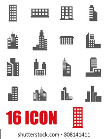 Vector grey building icon set on white background