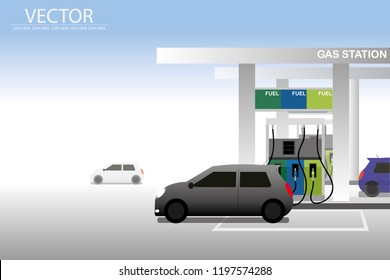 vector grey car parking in the gas station on day background